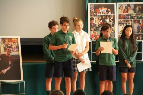 Nick Fagnano (class of 2008) honored by St. Brendan School classmates at Assembly