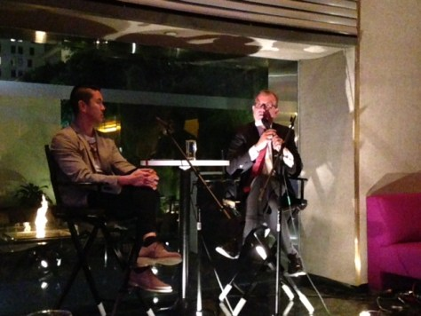 Brighan Yen (left) and Hal Bastian talk DTLA Renaissance at The Standard Hotel