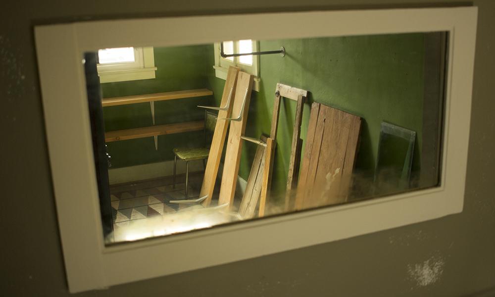 Disassembled shelves line the back room of the Roosevelt Growhouse on Sunday, Oct. 30. (Craig Johnson/DD)