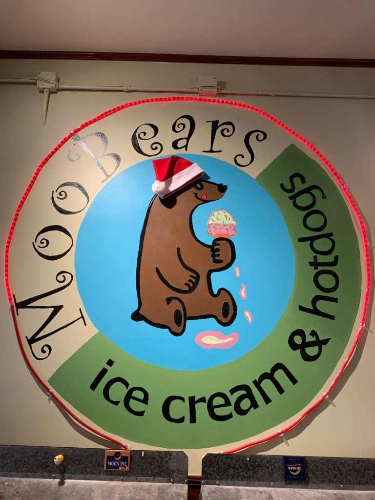 MooBears Ice Cream & Hotdog shop decorated for Christmas with Santa Hat