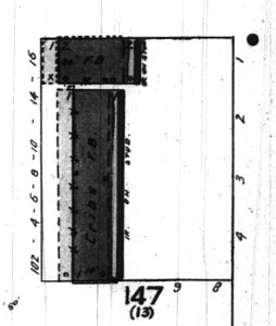 """Block 13 as it appears on the 1912 Sanborn map. """"F.B"""" or """"female boarding"""" was the company's euphemism for bordellos."""
