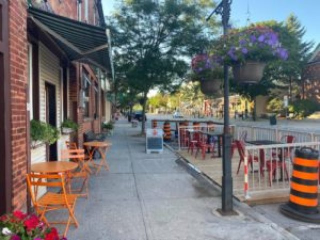 The Firehall Bistro patio in downtown Orono.