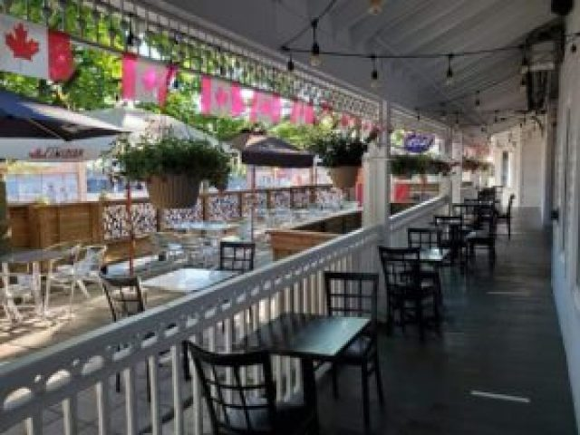 The Pearson Pub patio in downtown Whitby.
