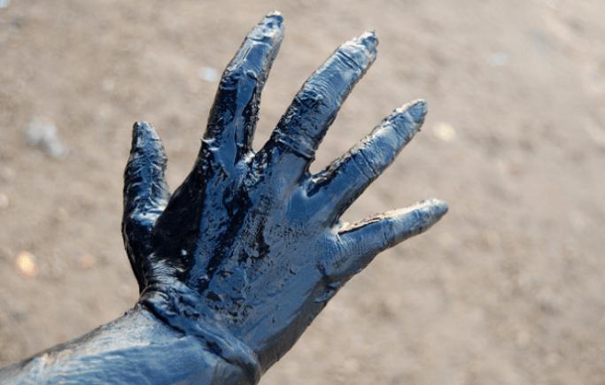 Strange blue hand