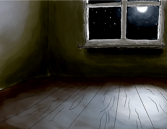 A drawing of an empty room.