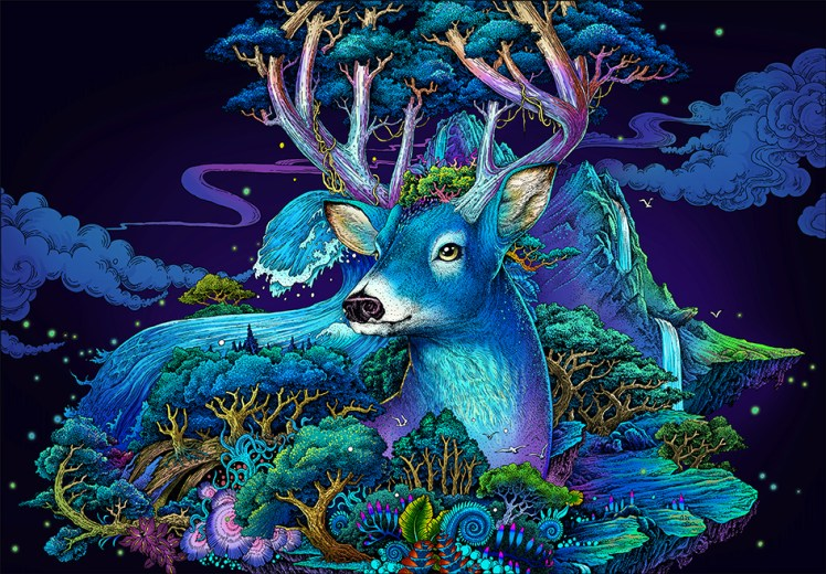 surreal blue deer
