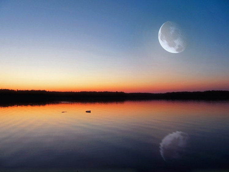 The moon reflecting off water.