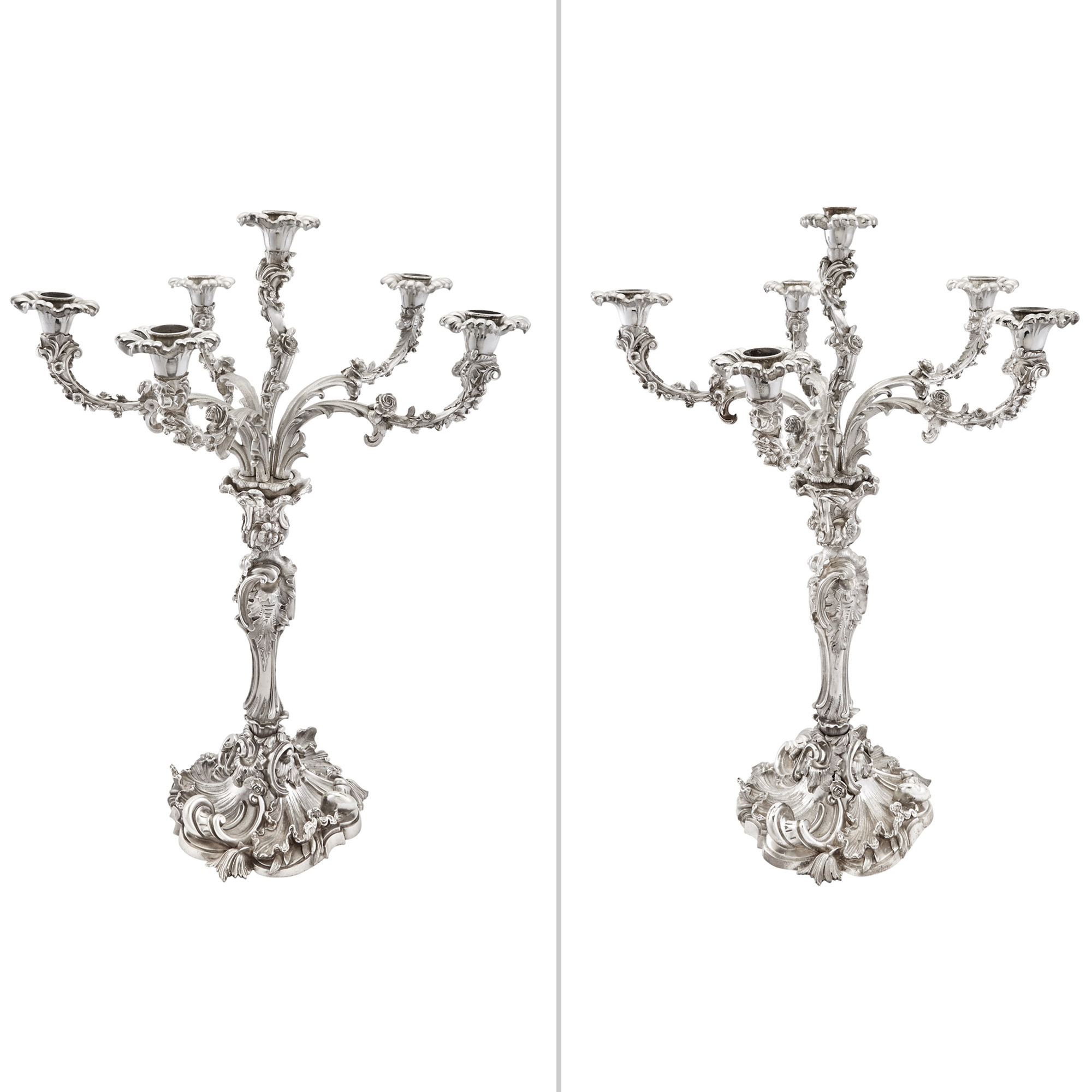 Pair Of English Silver Plated Six Light Candelabra