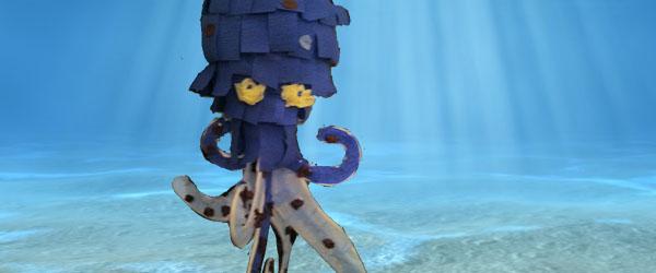 paper mache octopus in ocean