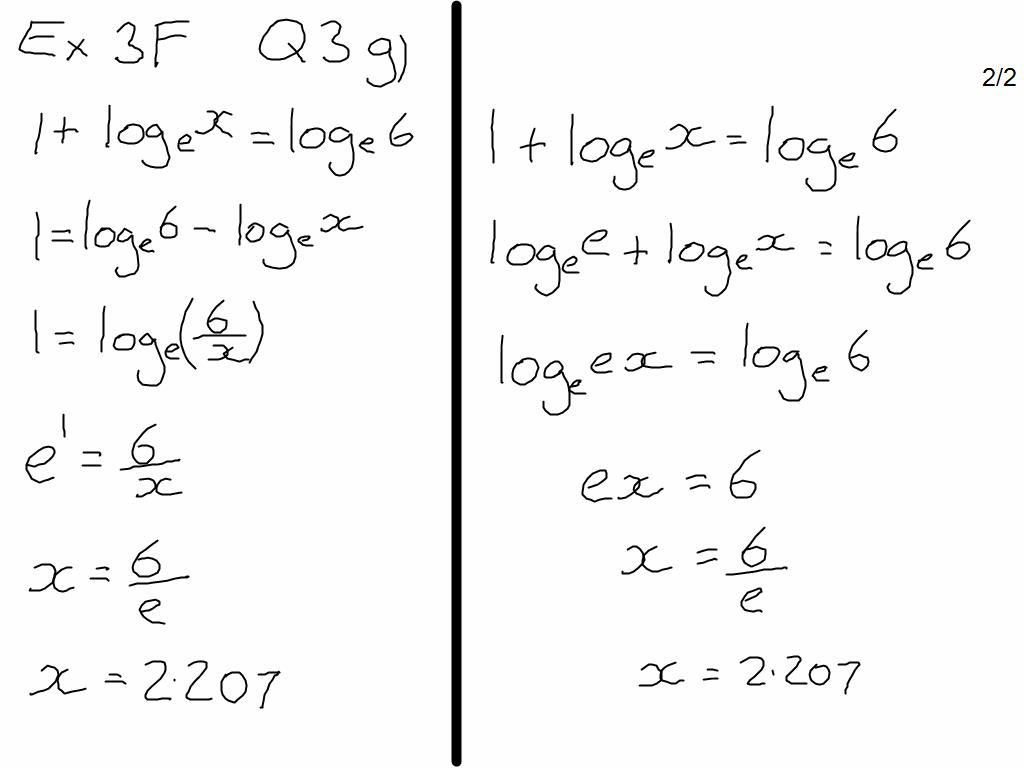 Exercise 3f Equations With Base E