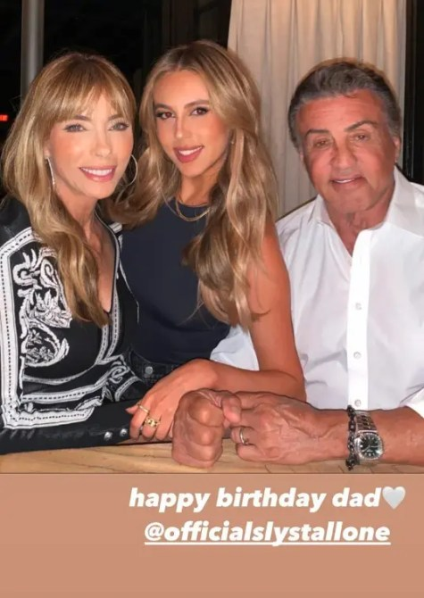 Sylvester Stallone, his wife, and his daughter