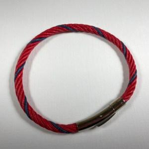 Bracelet chanvre naturel teinte rouge + bleue