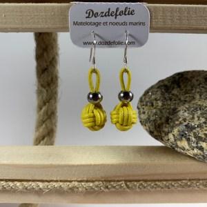 Boucles d'oreilles pomme de touline Coton jaune