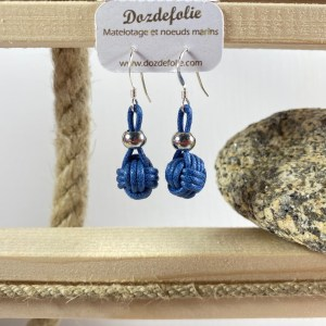 Boucles d'oreilles pomme de touline Coton bleu marine