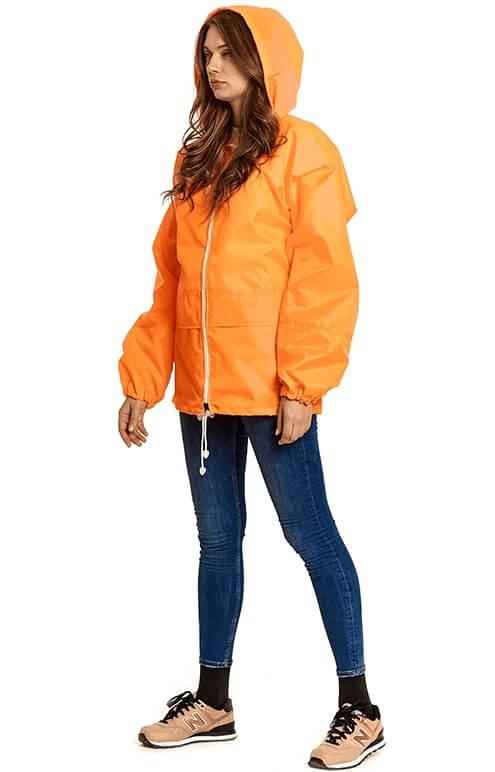 """Купить флюорисцентно-оранжевую куртку-дождевик """"Лидер"""""""
