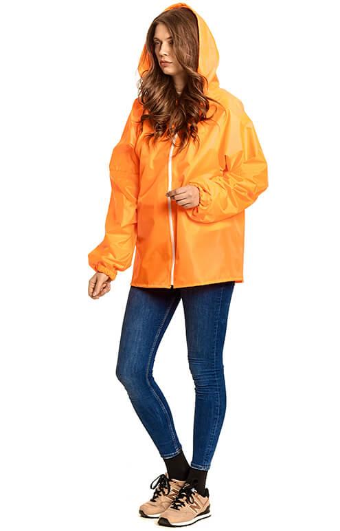 """Купить флуорисцентно-оранжевую куртку-дождевик """"Промо"""""""
