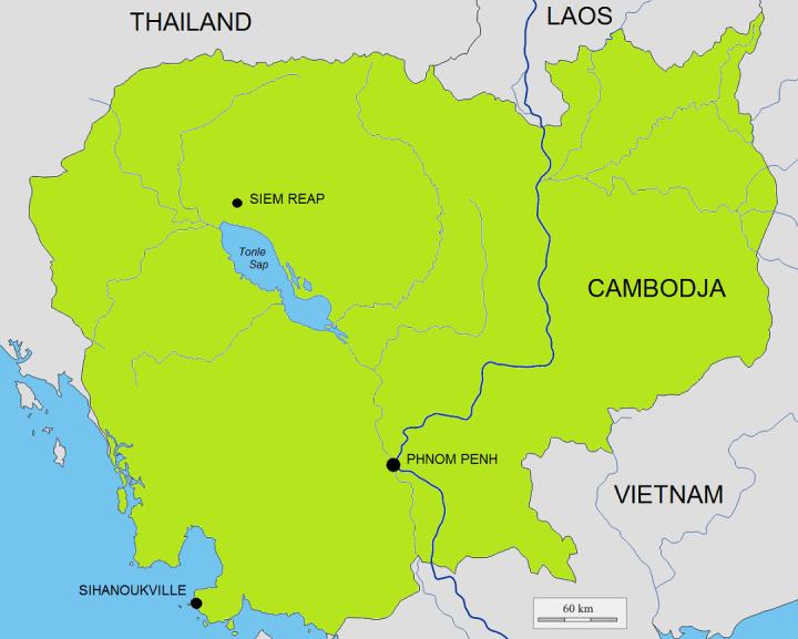 Kaart Cambodja met onze belangrijkste bestemmingen