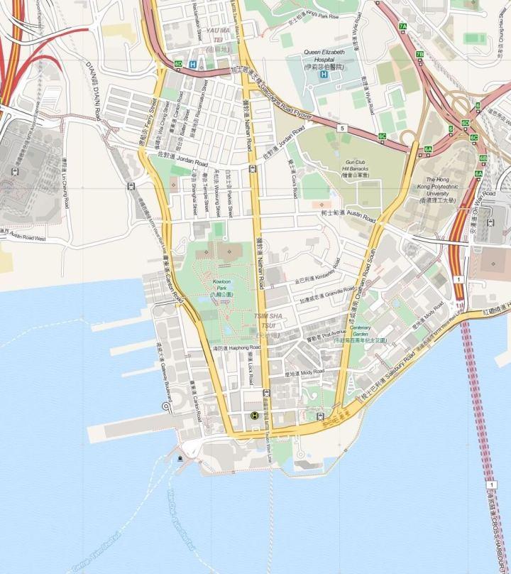 Kaart Kowloon - Hong Kong, S.A.R. China