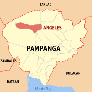 Locatie gemeente Angeles in de provincie Pampanga - Luzon, Filipijnen