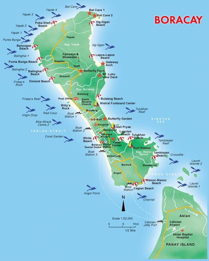 Kaart Boracay, Western Visayas, Filipijnen