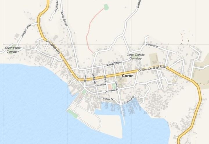 Kaart Coron Town op Busuanga Island, Palawan, Filipijnen