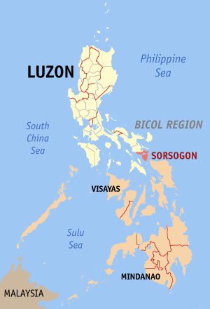 Ligging van de provincie Sorsogon in de Bicol Region op Luzon Island, Filipijnen