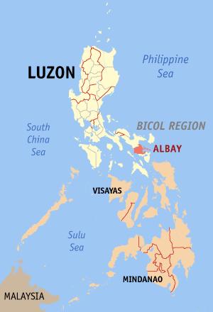 Ligging van de provincie Albay in de Bicol Region op Luzon Island, Filipijnen