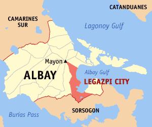Locatie gemeente Legazpi in de provincie Albay - Luzon, Filipijnen