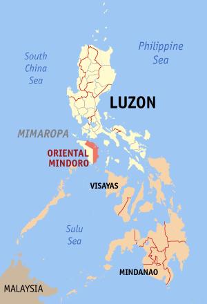 Locatie Oriental Mindoro in de Filipijnen