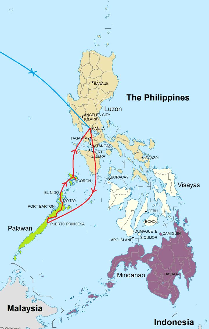 Route rondreis Palawan