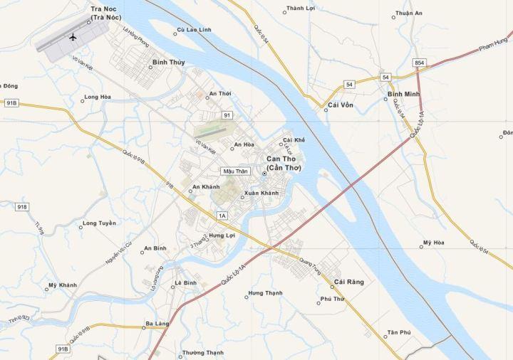 Kaart Can Tho, Mekong Delta - Zuid Vietnam