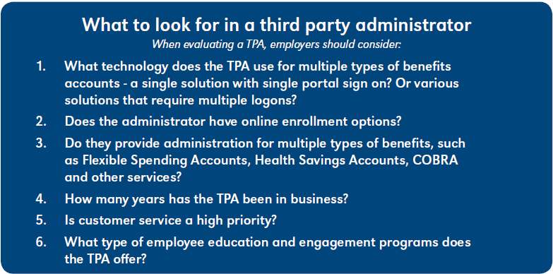 What to look for in a third party administrator. When evaluating a TPA for outsourcing benefits administration, employers should consider:   1. What technology does the TPA use for multiple types of benefits accounts - a single solution wiht single portal sign on? Or various solutions that require multiple logons?  2. Does the administrator have online enrollment options?  3. Do they provide administration for multiple types of benefits, such as FSAs, HSAs, COBRA, and other services?  4. How many years has the TPA been in business?  5. Is customer service a high priority?  6. What type of employee education and engagement programs does the TPA offer?