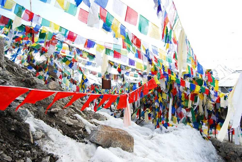 Tibetan flags and snow covered mountains
