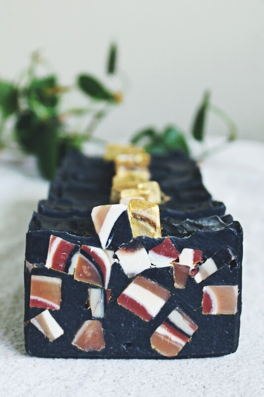 Grapefruit Soiree gold, activated charcoal beeswax soap