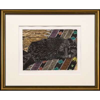 Sylvia Portillo -- Cat Sleeping Throw-rug Style