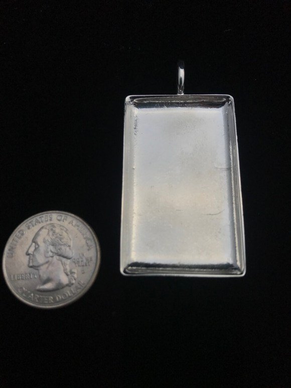 Silver Plated Large Rectangle Amate Bezel Pendant
