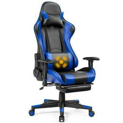 Massage Gaming Chair Reclining Racing Office Chair-Blue