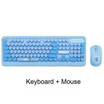 K68 Gaming Wireless Keyboard Mouse Combos Cute Retro Round Keycap Cartoon Personality Computer Peripherals for Desktop Laptop blue