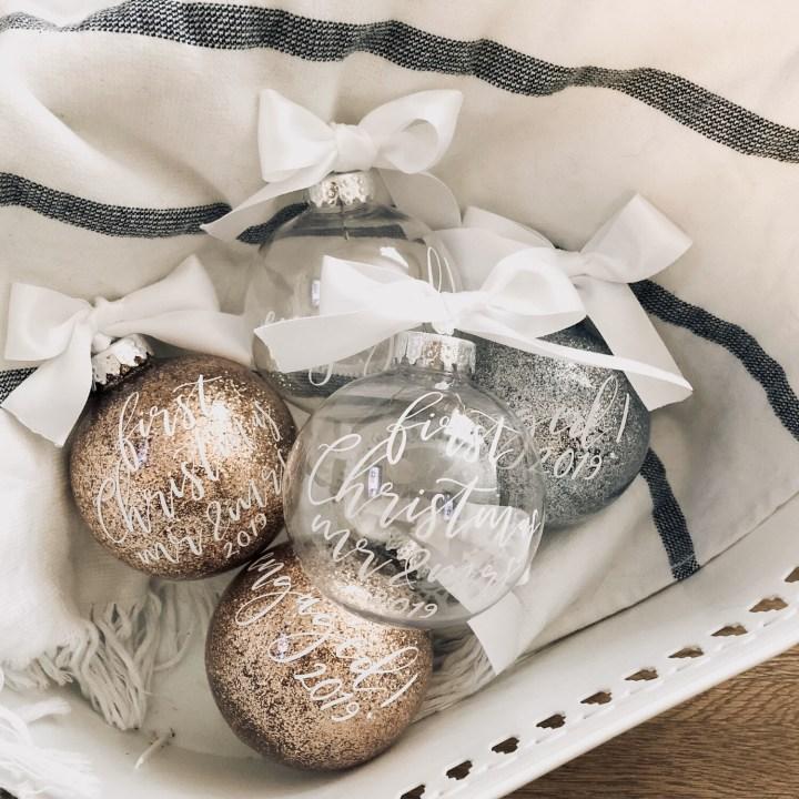 Modern Christmas Ornaments | Glitter Round Ornament | Custom Christmas Ornament | Holiday | Gifts