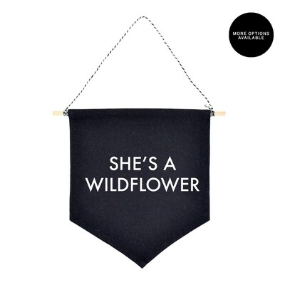She's a Wildflower | Canvas Banner | Personalized Banner