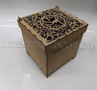 Caja de Dinero MDF + 50 Sobres de Dinero 20x20x20cms 02