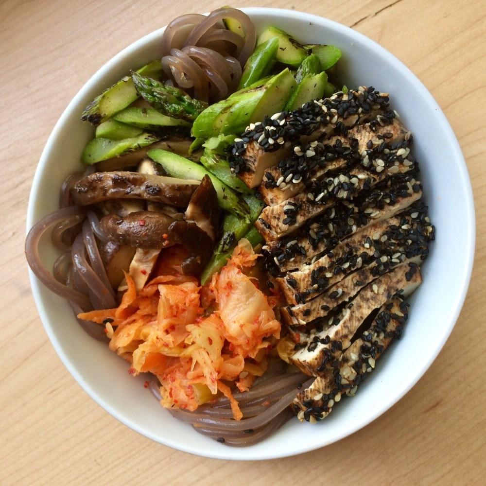 Sesame Crusted Tofu: Japchae Noodles, Kimchi, Asparagus (GF)
