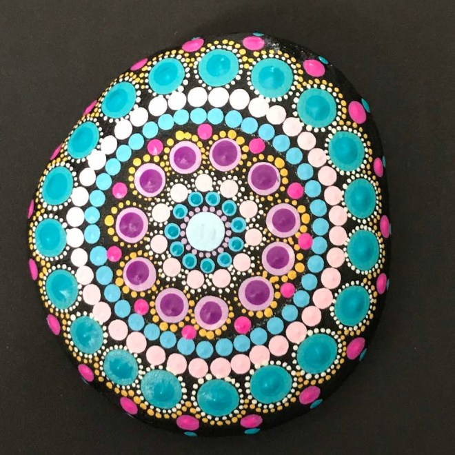 Blue Pastel Dot Mandala Rock Meditation Home Decor Mindfulness Spring Gardening