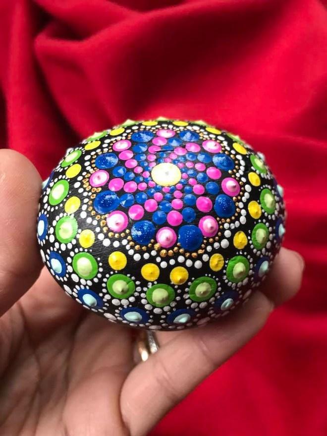 Multicolored Dot Mandala Art Rock Home Decor Meditation Mindfulness