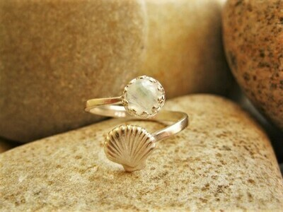 Lucky travel ring ~ Camino de Santiago shell + moonstone