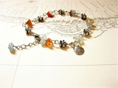 Camino safe travel bracelet ~ aquamarine + agate