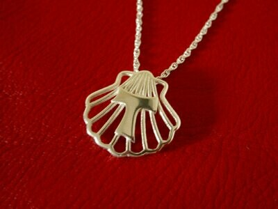Tau Cross on scallop shell necklace