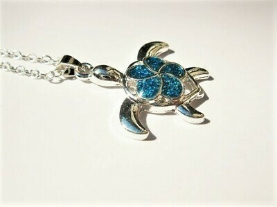 Lucky turtle necklace ~ blue opal