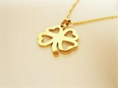Lucky clover necklace ~ golden open