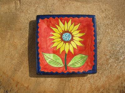 Spanish plate ~ sunflower, square